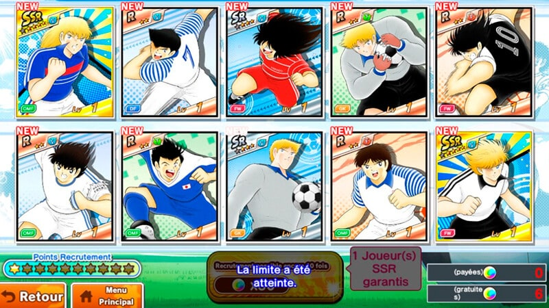 Captain Tsubasa dream team - seleccion de jugadores